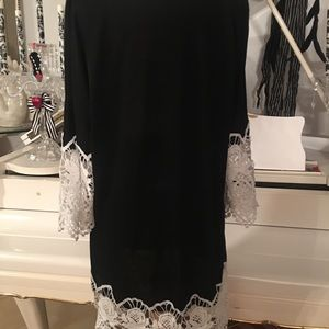 Black cotton dress with Lace
